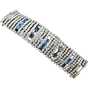 Humongous Sapphire Blue Pear shaped Rhinestones Designer Piece Vintage