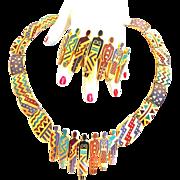 One of a Kind Laurel  Burch Tribal Necklace and Bracelet  Vintage
