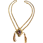 Victorian Chain Necklace with Purple center Stone