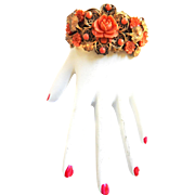Exquisite Czech Tangerine Faux Coral 1930s to 40s Clamper Bracelet