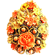 Exquisite 1930s Czech  Faux Coral Massive Celluloid Brooch