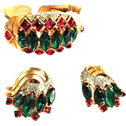 Breathtaking Trifari Jewels Of India Bracelet and Earrings
