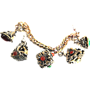 Charmed I am Sure Vintage FOB Cabochon Art Glass Charm Bracelet