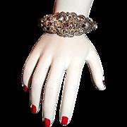 Exquisite Old Hollywood Marcasite and Garnet Bracelet