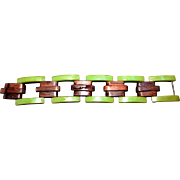 Avocado and Wood Bakelite Link Bracelet Important and Rare