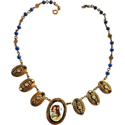 Magnificent Hand Painted Portrait  Faux Pearls Czech Necklace Early 1900s
