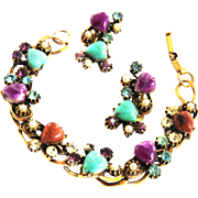 Vintage Hearts on Fire Art Glass Bracelet and Earrings Faux Pearls