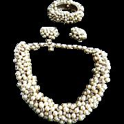 Designer Faux Pearl Choker Necklace Bracelet and Earrings Vintage