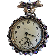 Spectacular Massive Watch Brooch with Griffins Vintage Faux Pearls and Amethyst Rhinestones