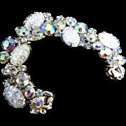 Juliana Vintage 5 Link Pressed art Glass Bracelet