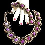 Rare Hard to Find Designer Purple Art Glass Necklace and Bracelet