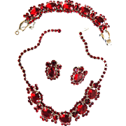 Ravishing Red Sultry Juliana Necklace Bracelet Earrings