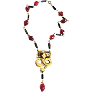 Spectacular Vintage Very Old Griffin Garnet Glass Necklace