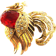 Outrageous Vintage Huge Rhinestone Bird Brooch