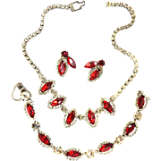 Lady in Red Vintage Weiss Necklace Bracelet Earrings