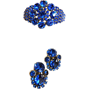 Vintage 50s Huge Sapphire Blue Clamper bracelet and Earrings