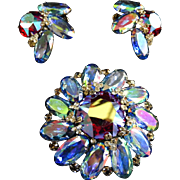 Massive Hattie Carnegie Tourmaline Watermelon Vintage Brooch and Earrings