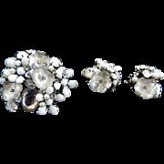Breathtaking DeMario Vintage Art Glass Brooch and Earrings