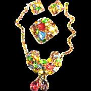 Vintage 50s Pastel Necklace Earrings Brooch