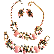 Juliana Pink Cabochon Necklace Bracelet Earings