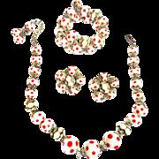 Vintage Hobe Red and White Polka Dot Bracelet Earrings Necklace