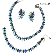 Gorgeous Navette Sapphire Colored Vogue Necklace Bracelet Earrings Rhinestone Parure Vintage 50s