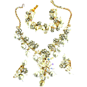 Fabulous Faux Pearl and Rhinestone Ball Necklace Bracelet Earrings Vintage Juliana