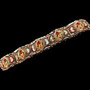 Fabulous Early 1900s Micro Mosaic Wide Bracelet