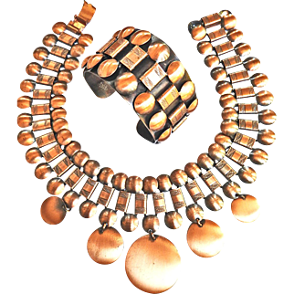 Fabulous Huge  Mid Century Modern Copper Collar And Earrings