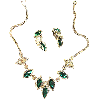 Gorgeous Weiss Emerald Green Necklace and Earring Demi 1950s