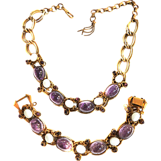 Fabulous Incredible Designer Faux Opal and Art Glass Amethyst Necklace and Bracelet