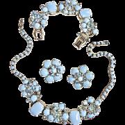 Seductive Juliana Blue Milkglass Necklace Bracelet Earrings Parure