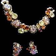 Designer Art Glass Vintage Rhinestone Bracelet and Earrings