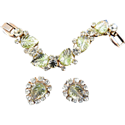 Fabulous Etched Juliana Peridot 5 Link Bracelet and Earrings