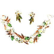 Gorgeous Juliana 5 Link Topaz Emerald Vintage Bracelet and Earrings