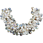 Spectacular Juliana Faux Pearl and Crystals Encrusted Bracelet