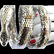 Vintage Whiting Davis 3 Coil Cobra Bracelet