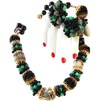 Hobe 1940s Beaded Necklace and Earrings Must C