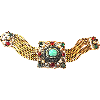 Vintage Early 1900s Czech Heavy Jeweled Faux Stones Bracelet and Faux Pearls
