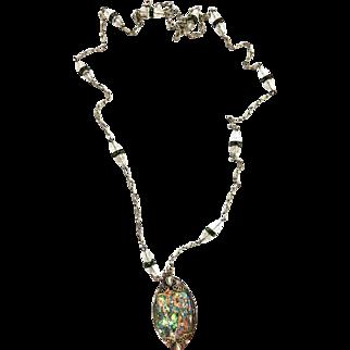 1920's Flapper Art Glass Czech Pendant Necklace