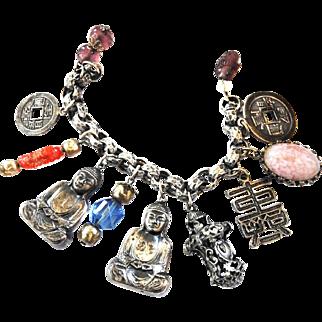 Big Bold Asian Influence Buddha Charm Bracelet Designer 1950s