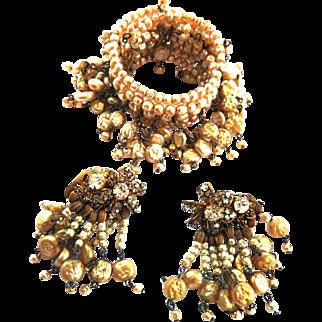 Breathtaking Haskell Faux Pearl Wrap Drippy Bracelet and Earrings