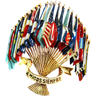 1940s Coro Siempre Flags of  the World Brooch