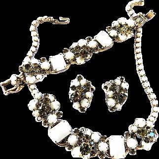 Juliana White Necklace Bracelet Earrings Parure