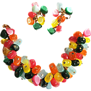 Napier 1950s Jelly Belly Bracelet and Earrings