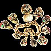 Vintage Mystical Heavy Fob Bracelet Griffins Faux Jade