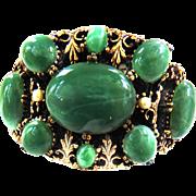 Humongoius Faux Jade Designer Vintage Bracelet