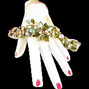 Breathtaking Caviness Peridot Rhinestone Vintage Bracelet