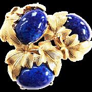 Gorgeous Vintage Schiaparelli Lapis Stone Brooch