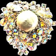 Beautiful Weiss Huge Faux Pearl Vintage 50s Brooch